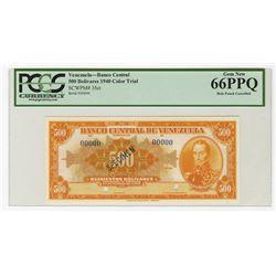 Banco Central De Venezuela, Caracas, 1940 Specimen Orange Color Trial Banknote