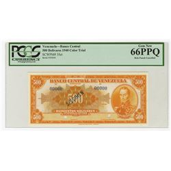 Banco Central De Venezuela, Caracas, 1940 Specimen Orange Color Trial Banknote