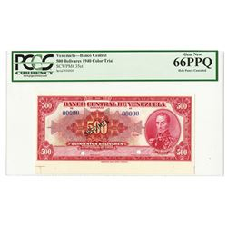 Banco Central De Venezuela, Caracas, 1940 Specimen Red Color Trial Banknote