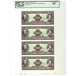 Banco Central De Venezuela 1986  Uncut Sheet of 4 Progress Proof Notes.