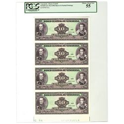 Banco Central De Venezuela 1986  Uncut Sheet of 4 Progress Proof Notes.