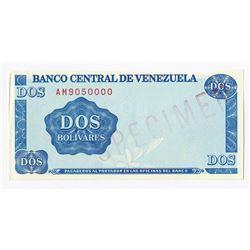 Banco Central De Venezuela 1989 Essay Paper Trial Banknote.