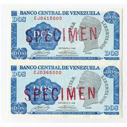 Banco Central De Venezuela 1989 Essay Paper Trial Uncut Banknote Pair.