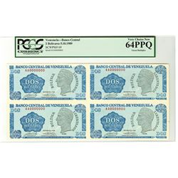 Banco Central De Venezuela, 1989 Uncut Block of 4 Specimen Notes.