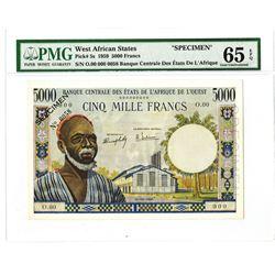 Banque Central Des Etats De L'Afrique De L'Ouest, ND (1959) Specimen Banknote.