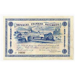 "Imperial Chinese Railways, 1899 $1 ""Shanghai"" Issue Banknote."
