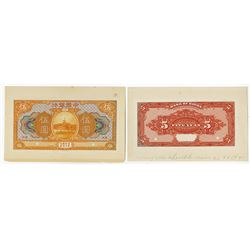 "Bank of China, 1918, 5 Yuan, ""Hankow"" Branch Issue Face & Back Proofs, The Back a Color Trial."
