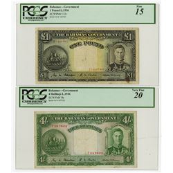 Bahamas Government, L.1936, Pair of Issued Notes.
