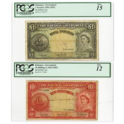 Bahamas Government, 1953, Pair of Issued Notes.