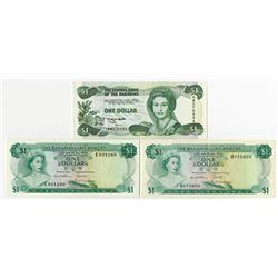 Bahamas Government, 1965-1984, Trio of Issued Notes.