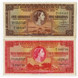 Bermuda Government, 1952 & 1966 Queen Elizabeth II Issue Banknote Pair