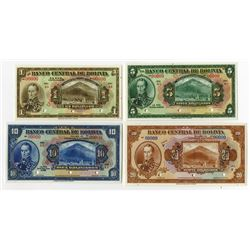 Banco Central De Bolivia, 1928 Lot of 4 Specimen Banknotes.