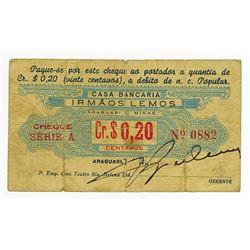 Casa Bancaria Irmaos Lemos, ND ca.1890-1900 Issued Scrip Note.