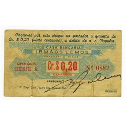 Casa Bancaria Irmaos Lemos, ND ca.1890-1900 Issued Scrip Note.