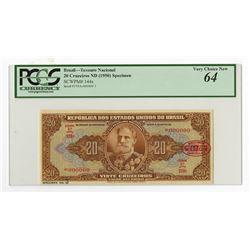 Republica Dos Estados Unidos Do Brasil, ND (1950) Specimen Banknote.
