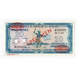 Banque De La Republique Du Burundi, 1964 Specimen Banknote.
