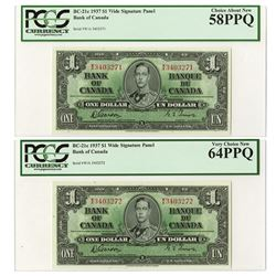 Bank of Canada, 1937  Sequential Banknote Pair.