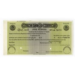 Ceylon Savings Certificate, ND ca.1940-60 Specimen Postal Savings Certificate.