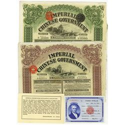 Imperial Chinese Government 1909 Issued Bond Pair.