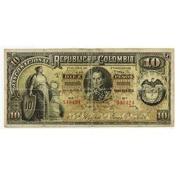 Banco Nacional de la Republica de Colombia 1895 Banknote.