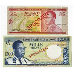 Banque Nationale du Congo, 1964-70, Pair of Specimens.