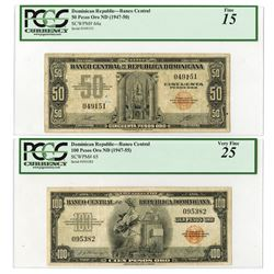 Banco Central De La Republica Dominicana, ND (1947-55) Issue Banknote Pair.