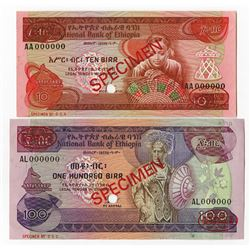 National Bank of Ethiopia, 1976, Pair of Specimens.