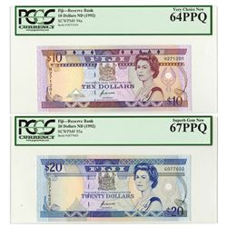 Reserve Bank of Fiji, ND (1992) Issue Banknote Pair.