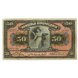 Banco Agricola Hipotecario, 1917 Issue Banknote.