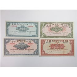 Bank of Leumi Le-Israel, 1952 ND Issue Banknote Quartet.