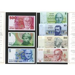 Bank of Israel, 1978-87 Issue Banknote Group in Limited edition Booklet.