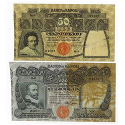Banco Di Napoli, 1911 Issued Banknote Pair.