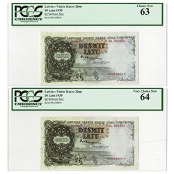 Valsts Kases Zime, 1939 Banknote Pair.