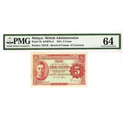 Board of Commissioners of Currency, Malaya, 1941 Issued Banknote.