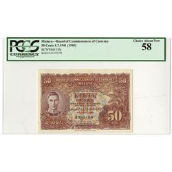 Board of Commissioners of Currency, Malaya, 1941 (1945) Issued Banknote.