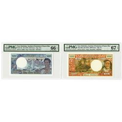 New Hebrides, Institut d'Emission d;Outre-Mer, ND (1975-1979) High Grade Banknote Pair.