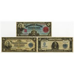 Philippine Islands & National Bank, 1906-1921, Trio of Issued Notes.