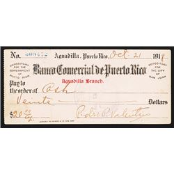 Banco Comercial De Puerto Rico, 1919 Issued Check.