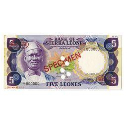 Bank of Sierra Leone, 1975, Specimen Banknote.