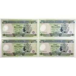 Central Bank of Solomon Islands, 2001, Quartet of Issued Notes.