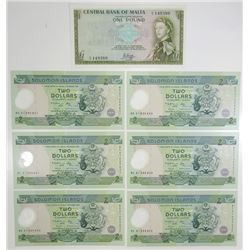Central Bank of Solomon Islands, 2001, Septet of Issued Notes.