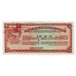 Swiss Bank Corporation London, 1927 Specimen Traveler's Check.