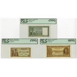 Narodna Banka, 1939 & 1946 Banknote Trio.