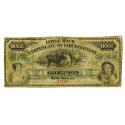 Little Rock Certificate of Indebtedness, 1873 Issued Obsolete Banknote.