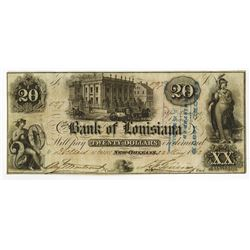 Bank of Louisiana, 1862 Obsolete Banknote.
