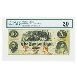 Canton Bank 1855 Issued Obsolete Banknote.