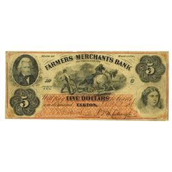 Farmers and Merchants Bank of Cecil County, 1863 Issued Obsolete Banknote.