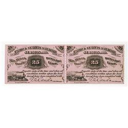 Cairo & St. Louis Railroad 1877 Uncut Obsolete Scrip Note Pair.