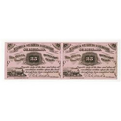 Cairo & St. Louis Railroad 1877 Uncut Obsolete Scrip Note Pair.