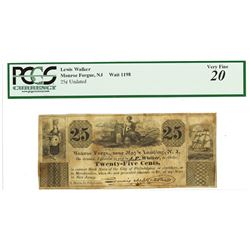 J.P. Walker, Monroe Forge, Near May's landing, N.J., ND (ca.1830-40's) Obsolete Scrip Note.